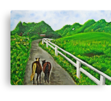 Just a Couple of Asses...Down On Oko's Farm Canvas Print