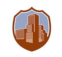 Urban Skyscraper Buildings Shield Retro by patrimonio