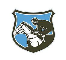Jockey Horse Racing Side Shield Retro by patrimonio