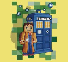 8bit blue phone box with space and time traveller Kids Clothes