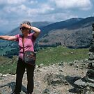 Marj on top of Loughrigg Fell Lake District England 198405200029 by Fred Mitchell