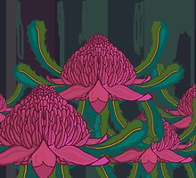 Waratahs in the Forest by Donna Huntriss