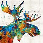 Colorful Moose Art - Confetti - By Sharon Cummings by Sharon Cummings