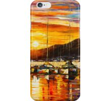 ITALY, NAPLES HARBOR - VESUVIUS - Leonid Afremov CITYSCAPE iPhone Case/Skin