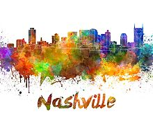 Nashville skyline in watercolor by paulrommer