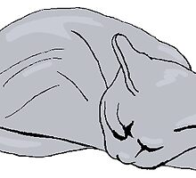 Grey Cat Sleeping by kwg2200