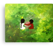 lil kids around a fire  Canvas Print
