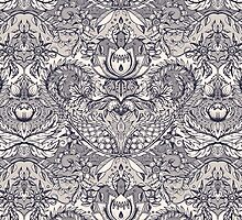 Natural Rhythm 2 - a hand drawn pattern in charcoal & cream by micklyn
