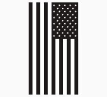 American Flag, Stars & Stripes, USA, Portrait, Black on White Kids Clothes