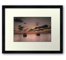 Dive boat sunset Framed Print