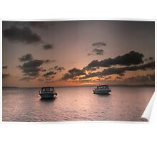 Dive boat sunset Poster