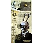 Inventor assemblage mixed media collage shadow box original art by LindaAppleArt