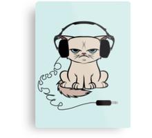 Grumpy Looking Cat With Headphones Metal Print
