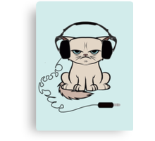 Grumpy Looking Cat With Headphones Canvas Print