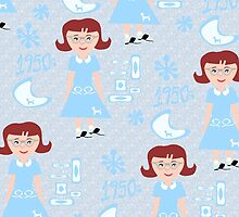 Cute 50's Girl Pattern by mytshirtfort
