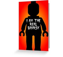 """Black Minifig with """"I am the Real Banksy"""" slogan by Customize My Minifig Greeting Card"""