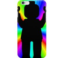 Black Minifig in front of Rainbow iPhone Case/Skin