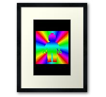 Rainbow Minifig in front of Rainbow  Framed Print