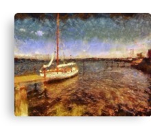 Old vintage wooden sail boat Canvas Print