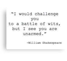 William Shakespeare Quote Canvas Print