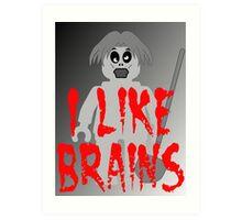 "Zombie Minifig ""I LIKE BRAINS"", by Customize My Minifig Art Print"