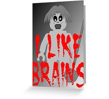 """Zombie Minifig """"I LIKE BRAINS"""", by Customize My Minifig Greeting Card"""