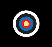 Bulls eye, Red, White, Blue, Roundel, Target, SMALL ON BLACK by TOM HILL - Designer