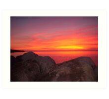 Sunset at Halls Harbour Art Print