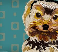 Toy Dog with Brown Yellow hair on turquoise back by ibadishi