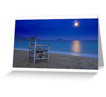 Watching the moon set Greeting Card