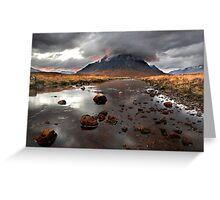 Sun sets behind Buachaille Etive Mor at Glencoe Scotland Greeting Card