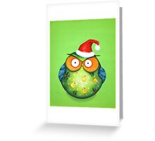 Funny Santa Owl Greeting Card