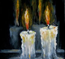 Candles Original oil painting by Natalja Picugina