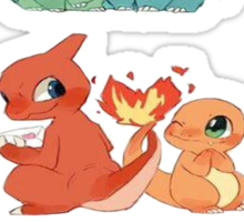pokemon first gen starters love cute design Sticker