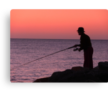 The Lonely Fisherman Canvas Print