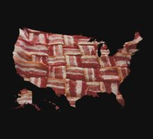 USA - American Bacon Map - Woven Strips Kids Clothes