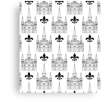 St. Louis Cathedral Pattern (Black) Canvas Print