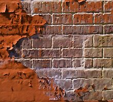 Textured red bricks wall by Ron Zmiri