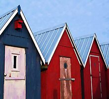 Beautiful red fishing huts on the coast by Ron Zmiri