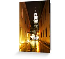 Night in the Old town Kaunas Greeting Card