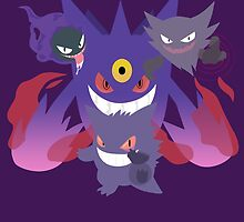 POKEMON Gastly - Haunter - Gengar by Roes Pha