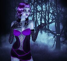 Girl in forest at night 3 by AnnArtshock