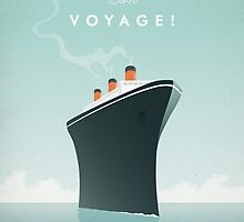 Vintage Travel Poster - Art Deco Cruise Ship  by VintageTravelPosters .co