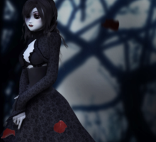 Gothic girl with rose petals 2 Sticker