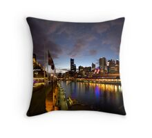 Melbourne skyline at night Throw Pillow