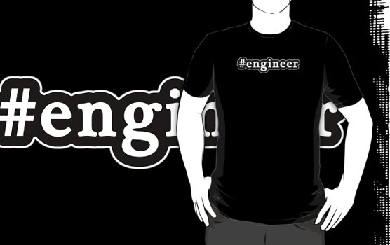 Engineer - Hashtag - Black & White by graphix