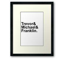 Grand Theft Auto V Helvetica List Framed Print