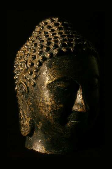 Buddha Bronze Sculpture - Tryptic Left by gematrium