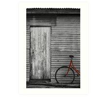 Waiting Red Bike Art Print