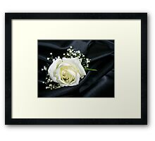 White on Black Satin Framed Print